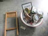 PORCELAIN PAN, WASH BOARD, MISC.
