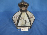 STAINED GLASS PENDANT LIGHT  W/ DUCKS  12'T