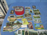 LOT OF OLD POST CARDS IN TIN