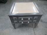 PAINTED GRAY MARBLE TOP END TABLE  25 X 25