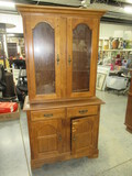 2 PC. CHINA CABINET W/ WOODEN SHELVES  38 X 18 X 73