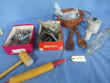 KITCHEN UTENSILS, METAL CANISTER & ROLLING PIN