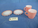 PINK & WHITE PYREX LOOK DISHES