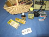 OLD CELLULOID CLOCK RADIO, OLD MEDICINE BOTTLES, RAZORS, ADVERTISEMENTS IN BASKET