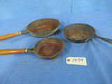 3 PC. CAST IRON PANS - ONE IS USA, TWO ARE TAIWAN