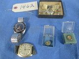 CANNON 15 & 25 YR PINS, CUFF LINKS, MENS WATCHES