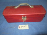 RED TOOL BOX W/ MISC. TOOLS INSIDE
