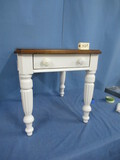 LANE FARM HOUSE  TABLE PAINTED WHITE WITH NATURAL WOOD TOP  24 X 28 X 25
