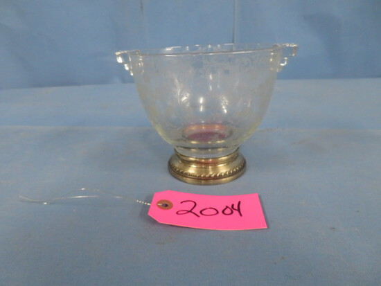GLASS ETCHED BOWL W/ STERLING BASE