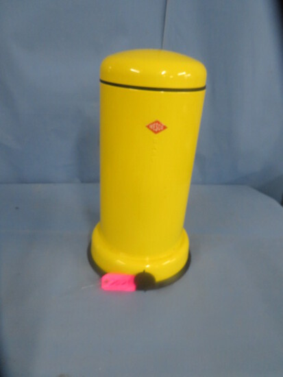 """YELLOW WESCO TRASH CAN  24"""" T"""