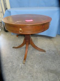 ROUND INLAID TABLE W/ DRAWER BY COLONY TABLES  30