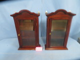 PAIR OF MAHOGANY HANGING WHAT NOT CABINETS  23  13