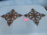 2 WROUGHT IRON WALL DECORATIONS  23 X 23