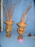 PAIR OF DECORATIVE URNS - LIGHTED INSIDE  21