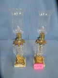 PAIR OF MATCHING LAMPS W/ GLASS PRISMS  20