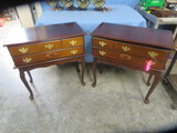 PAIR OF QUEEN ANNE SMALL SIDE TABLES  30 X 16 X 30 T
