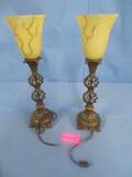 PAIR OF METAL LAMPS 22