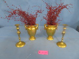 2 GOLD VASES & CANDLE HOLDERS