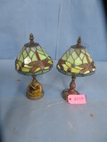 PAIR OF STAINED GLASS LAMPS- ONE NEEDS TO BE WIRED  12
