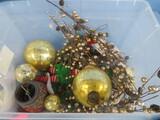 BOX OF GLASS ORNAMENTS & DECOR