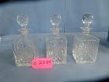 3 CUT GLASS LIQUOR DECANTERS  10