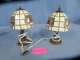 2 STAINED GLASS LAMPS - HAS NO PLUGS  11