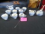 LOCHS OF SCOTLAND 9 PCS. CUPS & SAUCER ROYAL WARWICK ENGLAND SUGAR & CREAMER