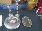 12 SILVER PLATES, 2 CANDLE HOLDERS, SILVER PLATED TRAY
