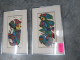 PAIR OF ABSTRACT PRINTS- SIGNED