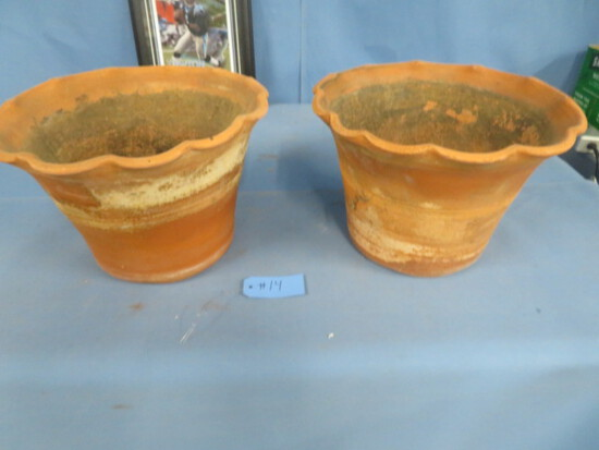 """PAIR OF CLAY PLANTERS  11"""" T"""