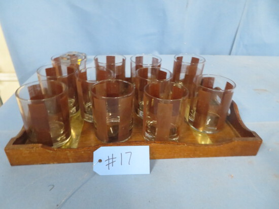 LIQUOR GLASSES AND TRAY