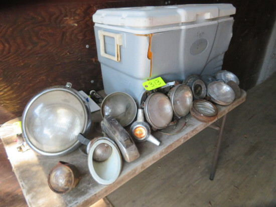 GRAY COOLER WITH CAR LIGHTS, MISC. CAR PARTS