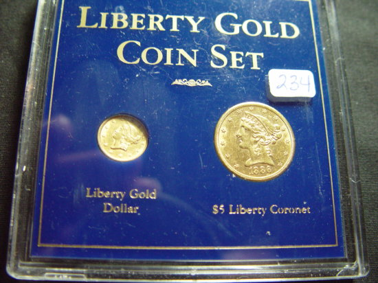 Two Piece Liberty Gold Coin Set: Type 1 Dollar & $5   XF/AU