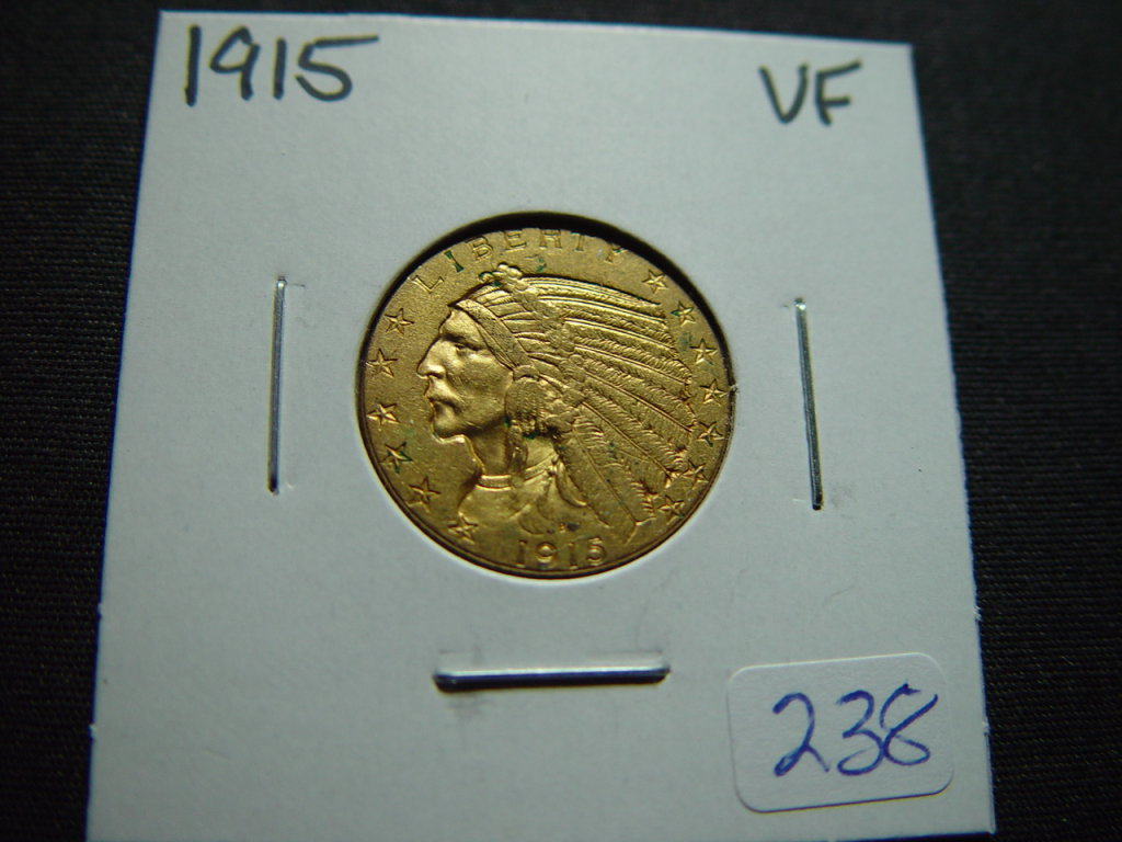 1915 $5 Gold Indian   VF