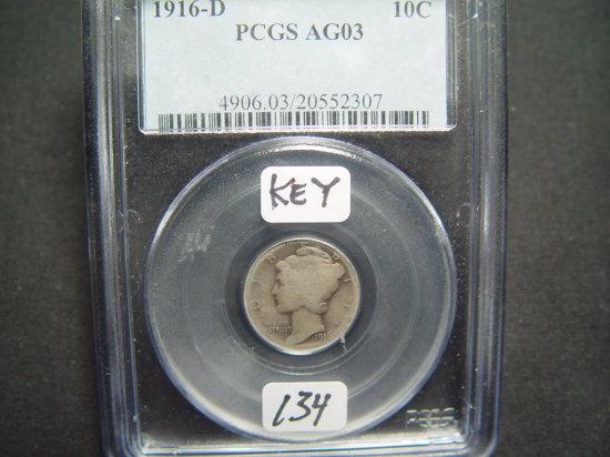1916-D Mercury Dime AG3 PCGS   Key Coin