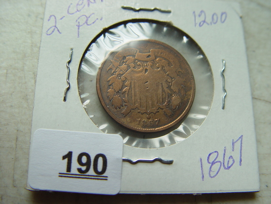 1867 Two Cent Piece, Some Cleaning