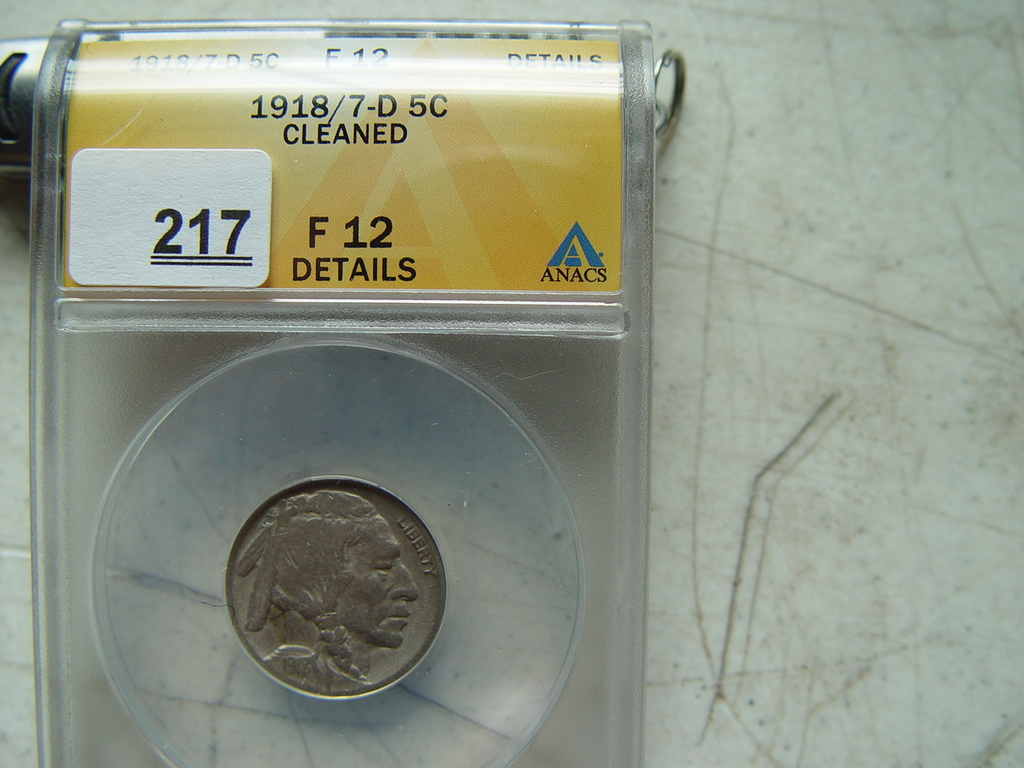 1918/7-D Buffalo, Slabbed, F-12, Cleaned, Authenticated