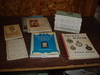 Pocket watch and clock reference books – with leather top foot stool  2pics