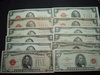 Red Seal Notes: (9) $2 Bills & (3) $5 Bills-- Several dated 1928