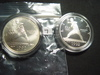 Two 1992 Olympic Silver Dollars w/Baseball player: BU & Proof