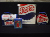 Pepsi 100 Years Book copyright 1997, 2 Lunch Boxes, Mini Pepsi Clock NIB