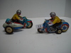 2 Contemporary Windup Tin Motorcycles