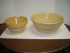 "2 Yellow Ware Bowls, One Roseville 5.5""D x 10""D &"