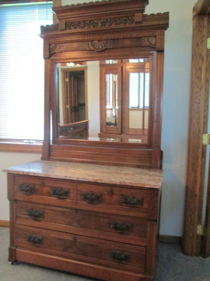 Carved Dresser with Marble top