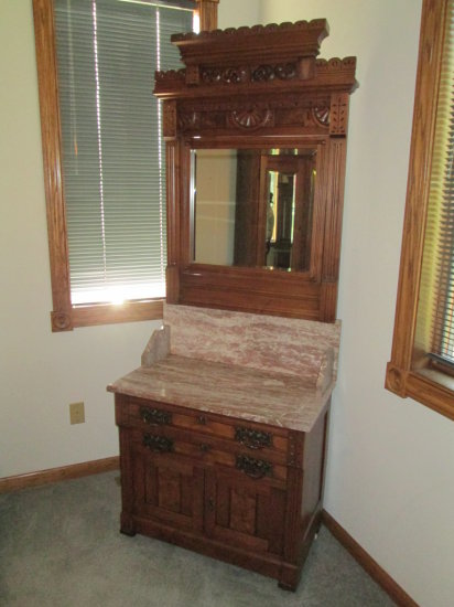 Gentleman's Carved Dresser with Marble top