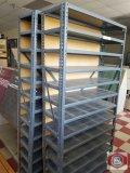 4 Gray Metal Shelving Units