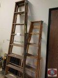2 wood ladders