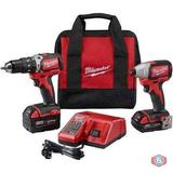 Milwaukee M18 18-Volt Lithium-Ion Brushless Cordless Hammer Drill/Impact Combo Kit (2-Tool) W/(2)