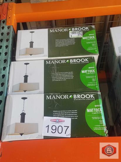 Manor Brook Mattock 3-Light Oil Rubbed Bronze Square Drum Pendant 6pcs