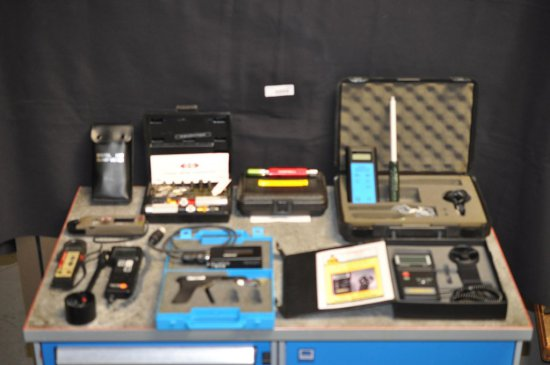 Assortment of Electronic Mfg. Tools and Items. Clamp Meters. Anemometers.